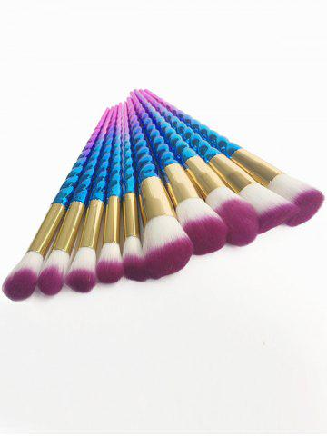 Discount 10Pcs Unicorn Thread Ombre Makeup Brushes Kit - BLUE AND RED  Mobile