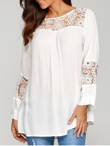 Sale Lace Insert Smock Blouse - L WHITE Mobile