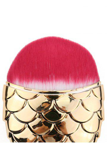 Chic Portable Mermaid Shape Facial Makeup Brush - GOLD AND RED  Mobile
