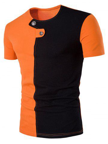 Trendy Color Block Panel Button Embellished T-Shirt ORANGE L