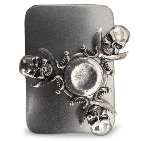 Online Finger Gyro Stress Relief Toy Skull Fidget Spinner SILVER AND GREY