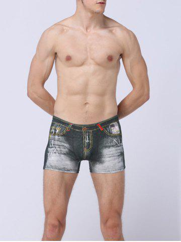 Outfit Sexy Belt Print Boxer Briefs - GRAY L Mobile