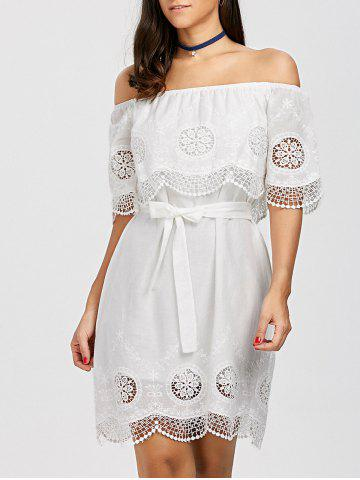 Off The Shoulder Lace Trim Scalloped Dress - White - Xl