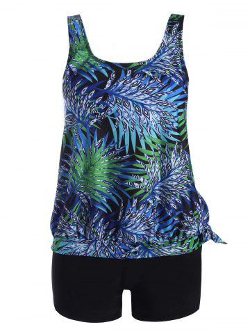 Plus Size Tropical Leaves Print Blouson Tankini - Colormix - 3xl