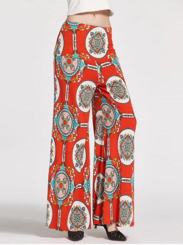 High Waist Floral Printed Palazzo Pants - White + Orange + Blue - S