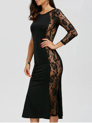 Chic One Sleeve Floral Lace Panel Dress BLACK XL