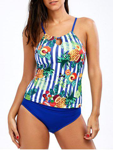 Outfit Cross Back Pineapple Tropical Tankini Set - XL BLUE Mobile