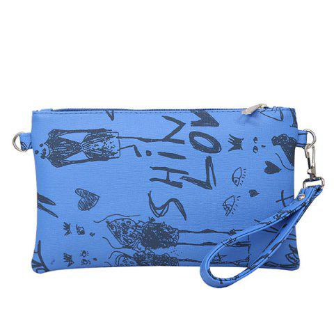 Unique Faux Leather Doodle Print Wristlet DEEP BLUE