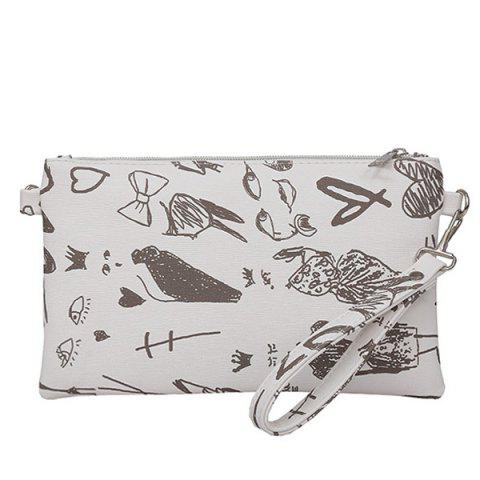 Outfit Faux Leather Doodle Print Wristlet WHITE