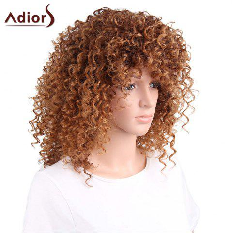 Online Adiors Shaggy Long Side Part Afro Curly Synthetic Wig - LIGHT BROWN  Mobile