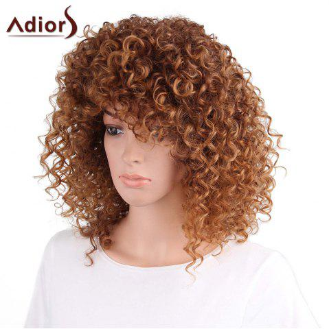 Hot Adiors Shaggy Long Side Part Afro Curly Synthetic Wig - LIGHT BROWN  Mobile