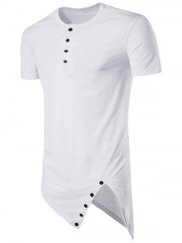 Asymmetrical Cutting and Button Design Longline T-Shirt - White - S