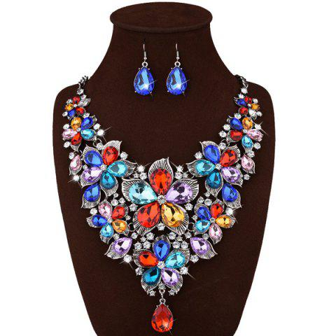 Fancy Faux Crystal Floral Statement Jewelry Set WHITE
