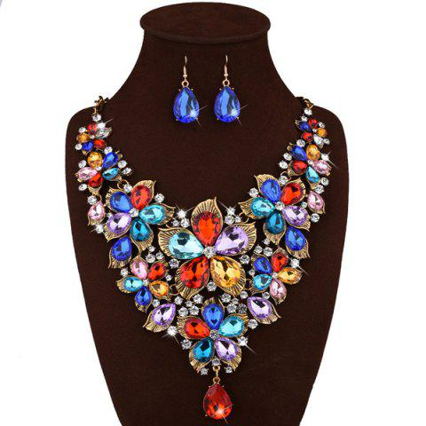 Sale Faux Crystal Floral Statement Jewelry Set GOLDEN