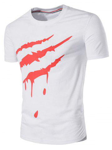 Discount Short Sleeve 3D Scratch Print T-Shirt WHITE L