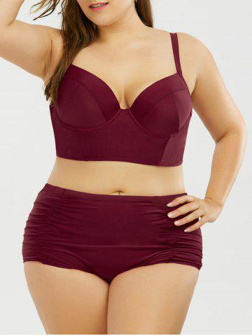 Buy Halter High Rise Plus Size Push Bustier Bikini Set - Wine Red 4XL