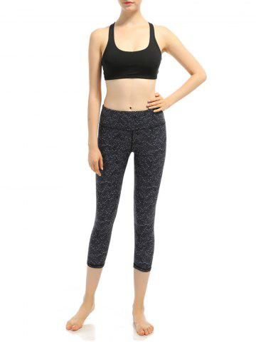 Cheap Pattern High Waist Yoga Cropped Leggings - L BLACK Mobile