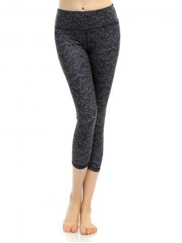 Unique Pattern High Waist Yoga Cropped Leggings - L BLACK Mobile