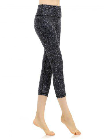 Fashion Pattern High Waist Yoga Cropped Leggings - L BLACK Mobile