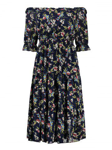 Plus Size Flounce Midi Floral Chiffon Off The Shoulder Dress - Purplish Blue - 4xl