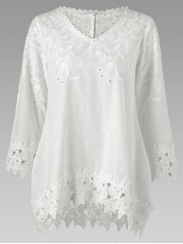 Buy Lace Panel Broderie Cutwork Blouse - 2XL WHITE Mobile