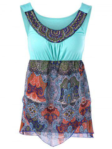 Unique Paisley Overlay Sleeveless T-Shirt with Beading - 2XL COLORMIX Mobile