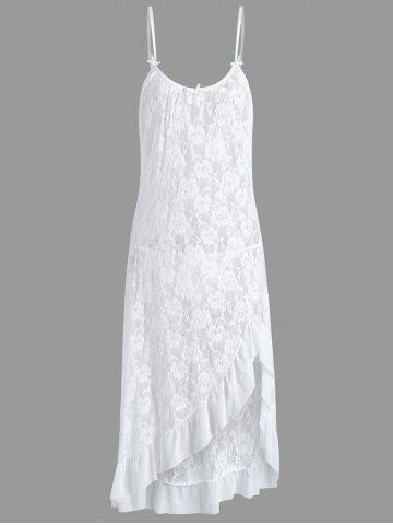 Long Lace Plus Size Ruffles Slip Babydoll - White - 3xl