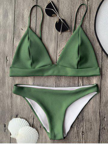 Outfit Cami Plunge Bikini Top and Bottoms GREEN M