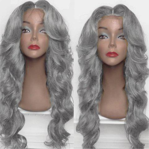 Online Long Center Part Shaggy Big Wavy Synthetic Wig - FROST  Mobile
