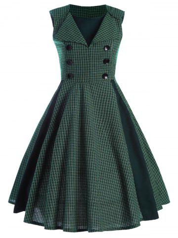 Front Buttoned Printed Vintage Dress - Checked - S