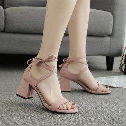Block Heel Tie Up Suede Sandals