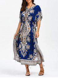 Arab Print Maxi Kaftan Boho Summer Dress - BLUE
