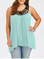 Plus Size Lace Panel Tank Top - LIGHT GREEN 4XL