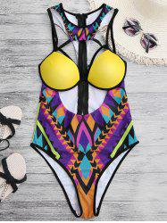 Cupped Cutout African Print One Piece Swimwear