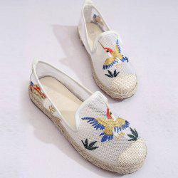 Espadrilles Embroidery Flat Shoes - WHITE