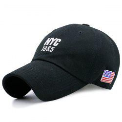 American Flag Letters Embroidered Baseball Hat - BLACK