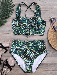 Lace Up Tropical Print High Waist Bikini
