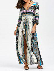 Elastic Empire Waisted Button Up Maxi Dress