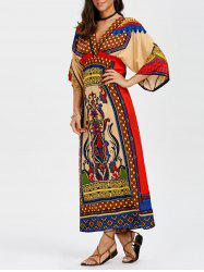 Tribal Print Empire Waist Maxi Surplice Dress