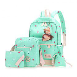Floral Printed 4 Pieces Backpack Set with Bear