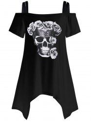 Plus Size Skull Off The Shoulder T-Shirt - BLACK