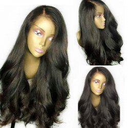 Lace Front Thick Ultra Long Side Part Natural Straight Synthetic Wig - BLACK