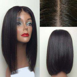 Center Part Silky Straight Medium Bob Lace Front Synthetic Wig - BLACK
