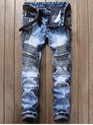 Zipper and Frayed Design Biker Cuffed Jeans - LIGHT BLUE