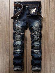 Zipper and Frayed Design Biker Cuffed Jeans