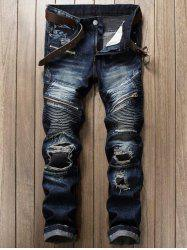 Zipper Fly Patch Design Frayed Ripped Jeans - DEEP BLUE