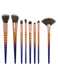 8Pcs Gradient Color Argyle Makeup Brushes Set