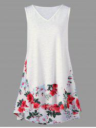 Sleeveless Floral Trim High Low Hem T-Shirt