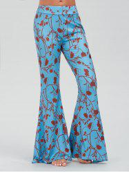 Floral Branches Print Casual Bell Bottom Pants