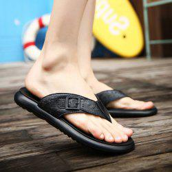 Faux Leather Buckle Strap Slippers - BLACK